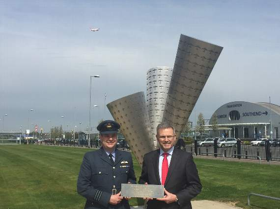 Plaque celebrating RAF war hero on display at Southend Airport